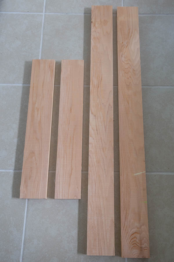 4 wood boards cut to size for DIY magnetic board wood frame