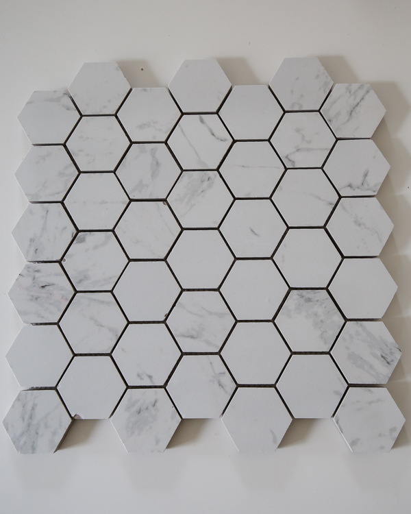 Hexagon Porcelain Marble Mosaic tile with chips