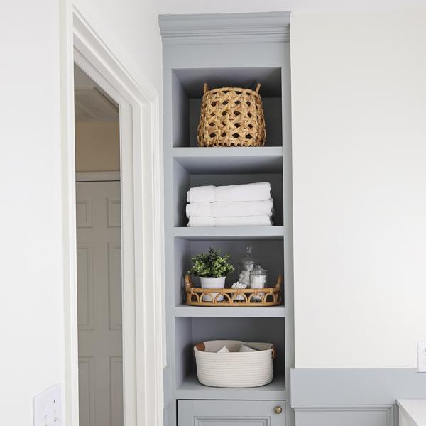 DIY Built In Bathroom Shelves and Cabinet