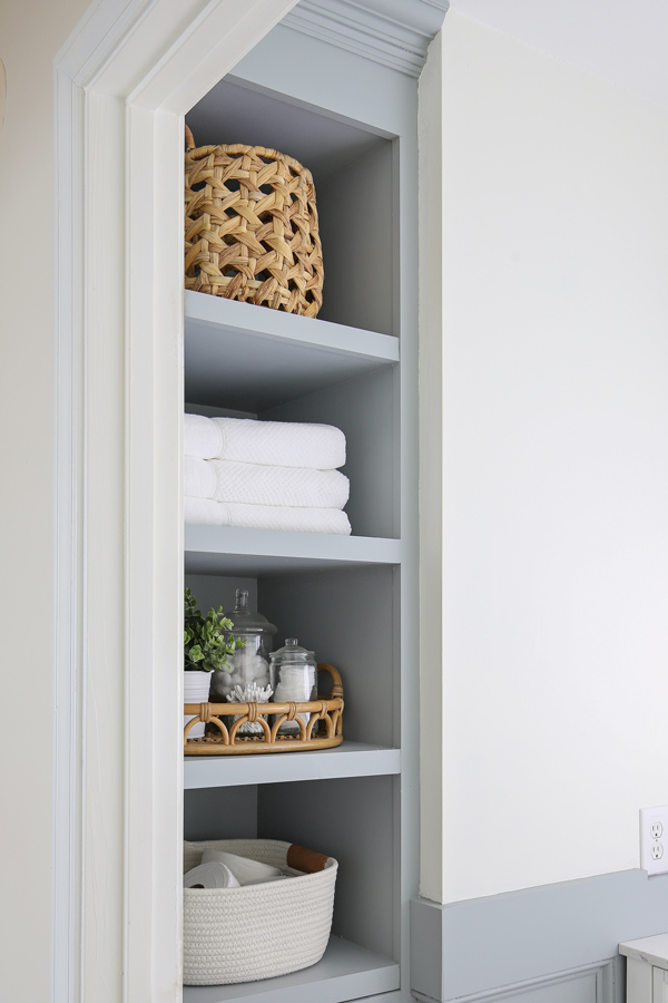side angle of Built in bathroom shelves in small bathroom