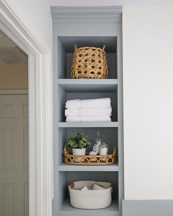 Built in bathroom shelves for small bathroom storage solution