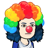 Cartoon of Angela wearing a rainbow clown wig and red clown nose while not smiling.