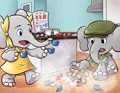 Little Elephants' Big adventures illustration of them baking a cake