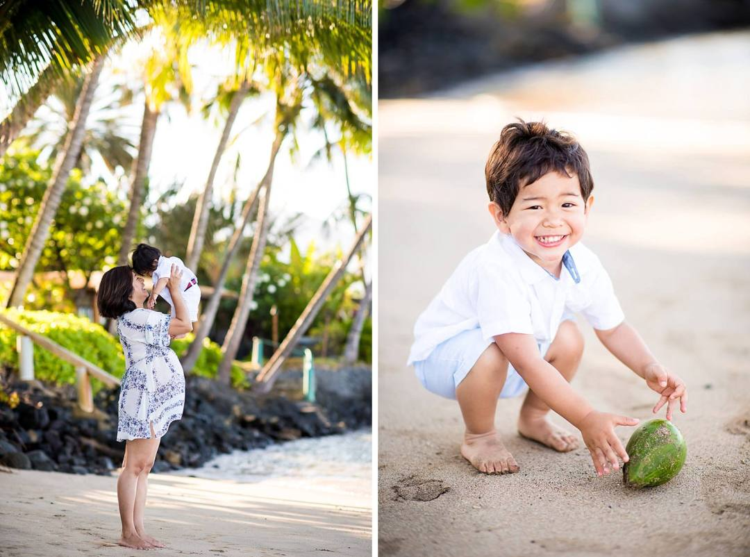 little boy playing with coconut