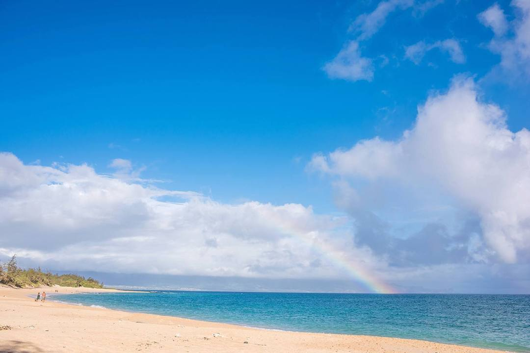 rainbow at the beach in Maui, hawaii