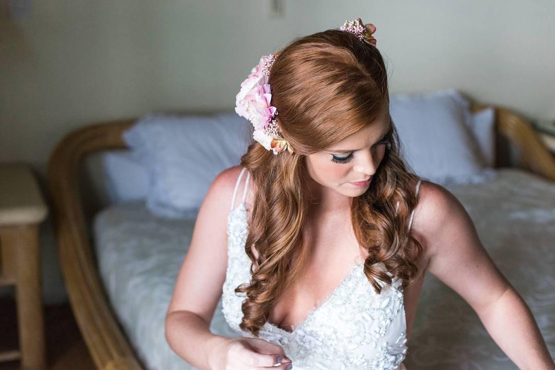 red headed bride half updo