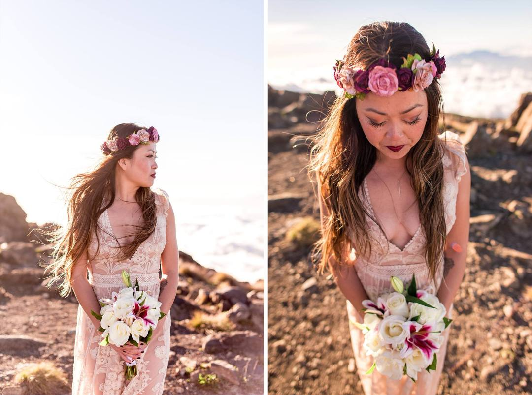 portraits of bride holding her white bouquet and wearing hakulei