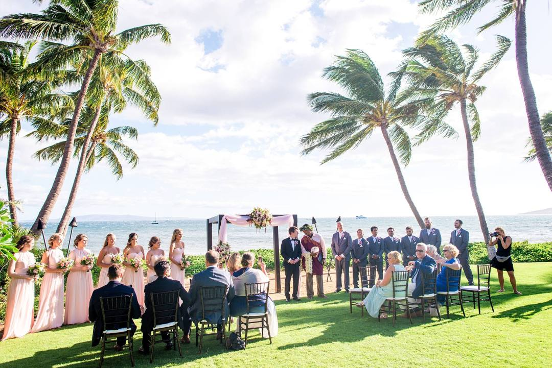 Tropical Hawaiian WEdding on Maui, ceremony shot