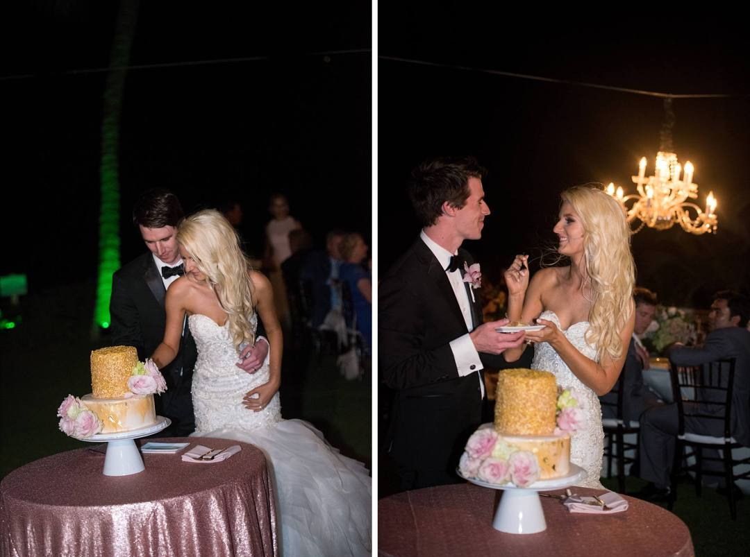gold two tiered wedding cake cutting!