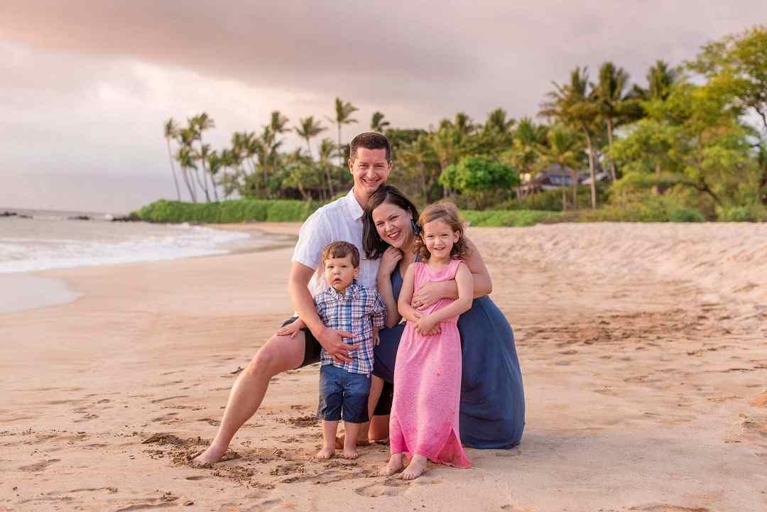sunset family portrait at white rock beach