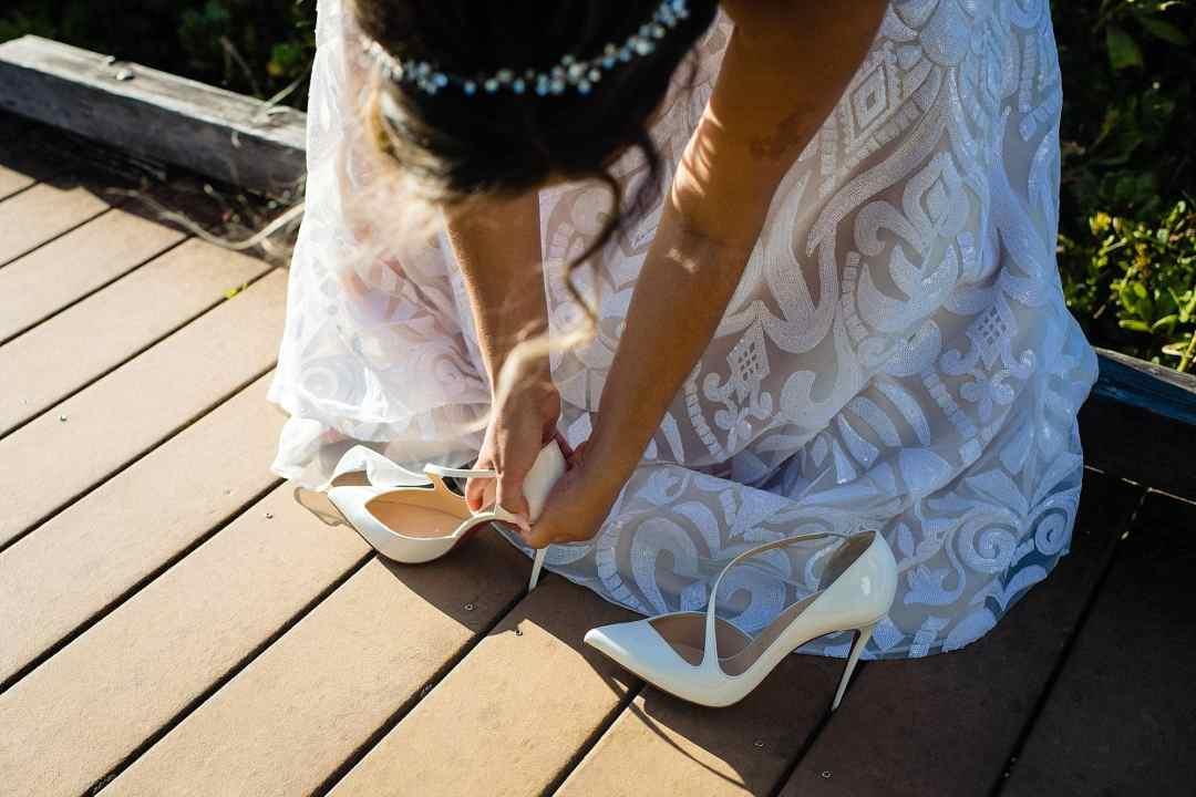 bride gets Christian Louboutin stuck in boardwalk
