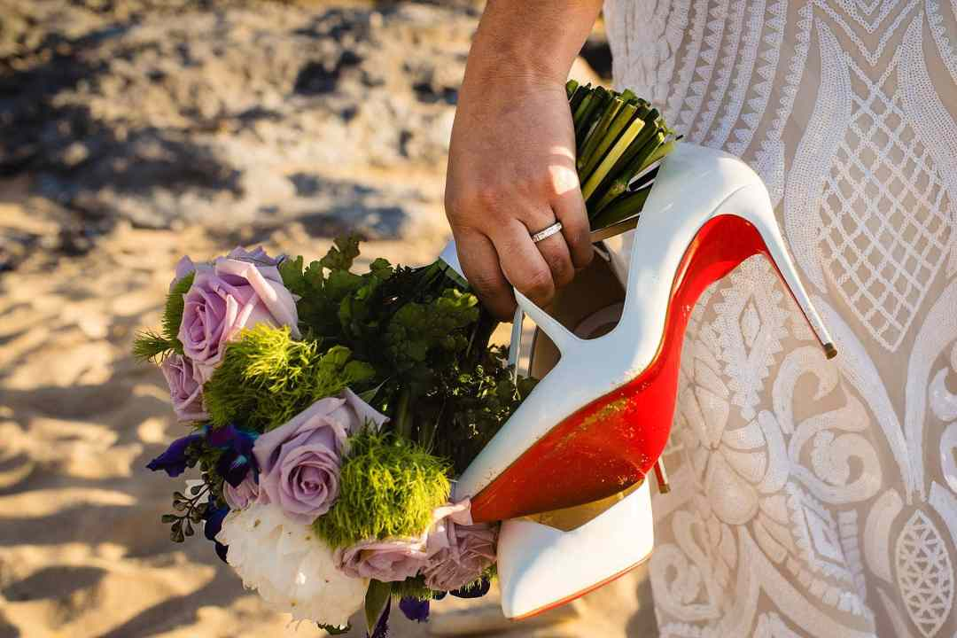 Christian Louboutin shoes and wedding bouquet