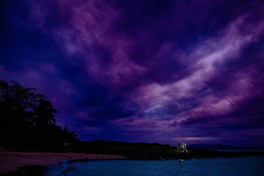 amazing purple sunset in kihei