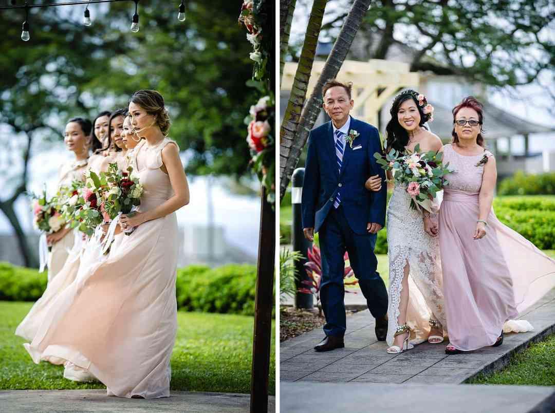 bride walking down the aisle at Steeple House Kapalua
