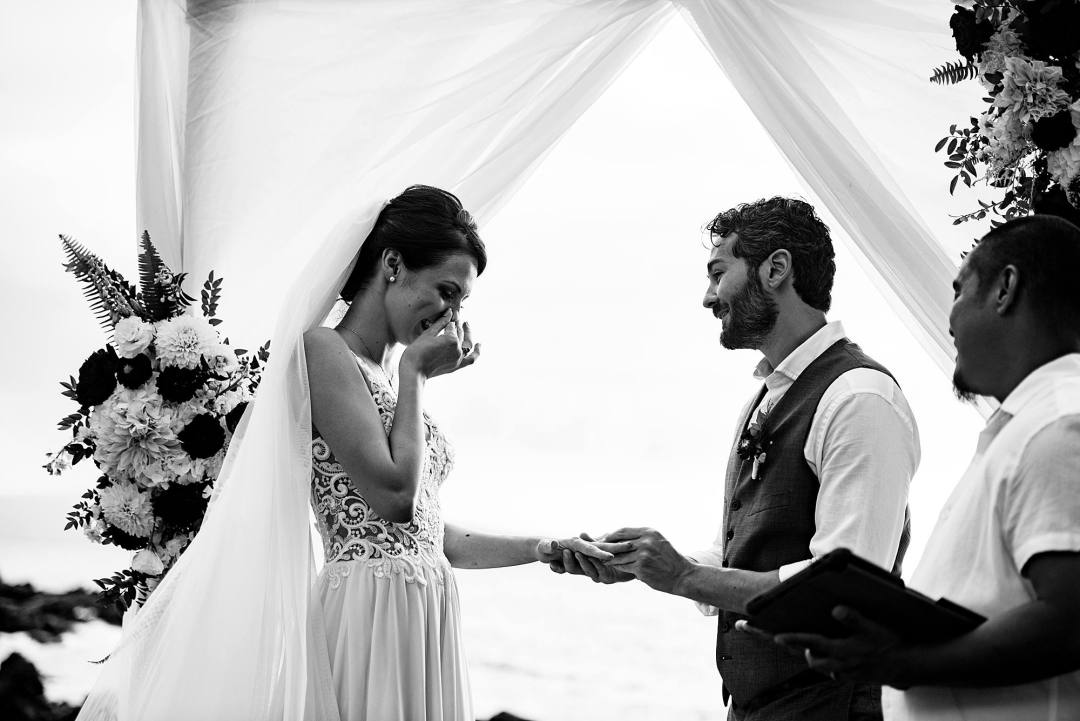 emotional bride during ceremony at kukahiko estate
