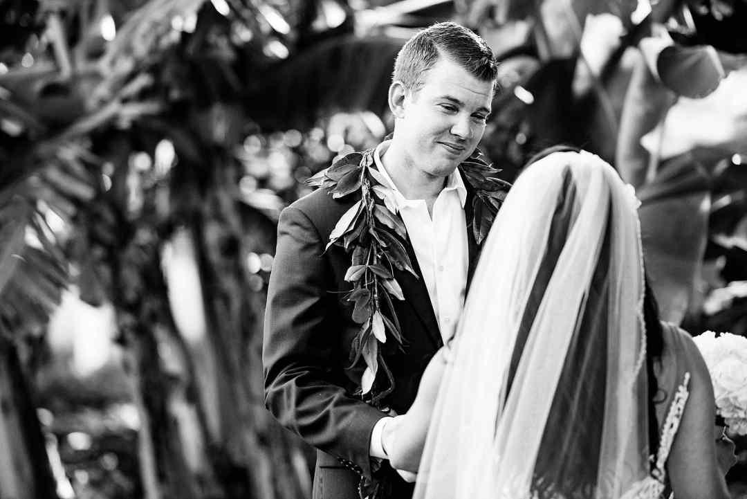 groom looking at his bride at Ritz Carlton Kapalua