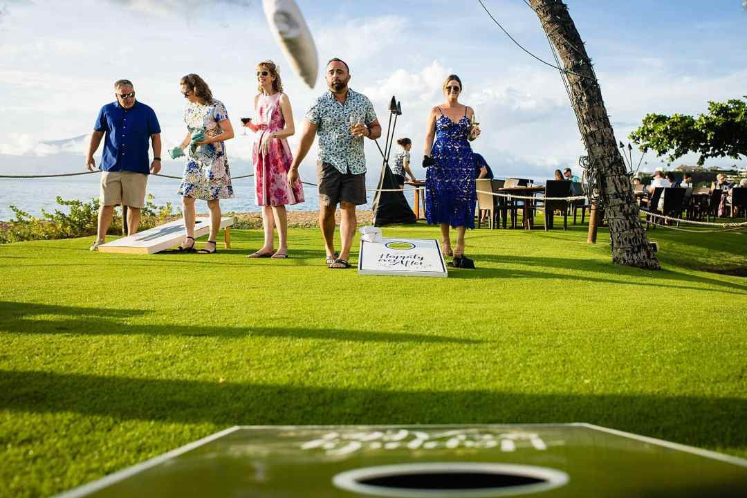 corn hole lawn game at westin maui