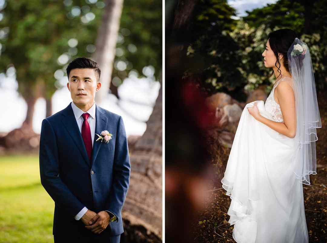 bride and groom waiting for first look at Olowalu Plantation House