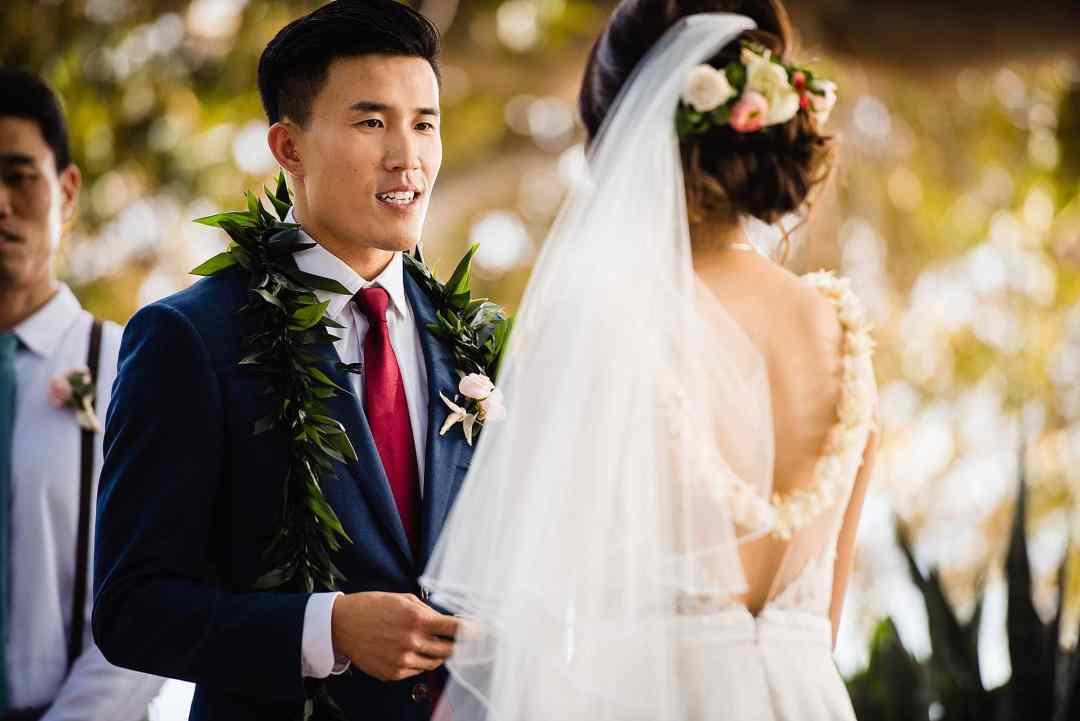 groom reading vows at Olowalu Plantation House