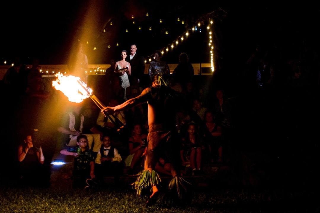 fire dancer at maui wedding