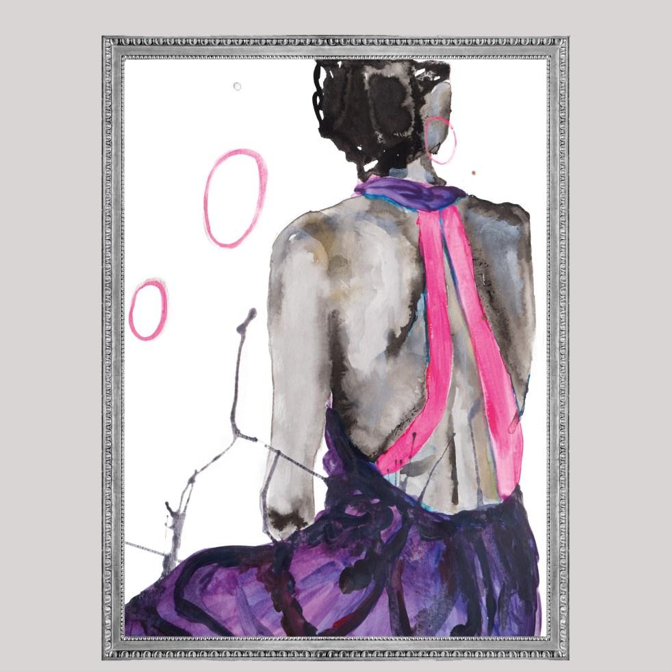 Woman pink back , Natuurlijk Angelart, Angela Peters. Illustraties inkt Aquarel