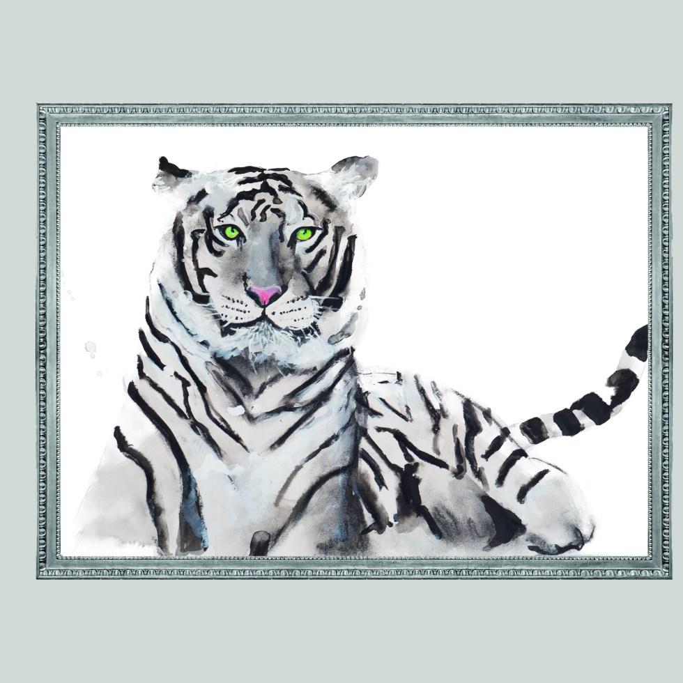 White Tigger, witte tijger, animal dieren print, Natuurlijk Angelart, Angela Peters. Illustratie Ink aquarel
