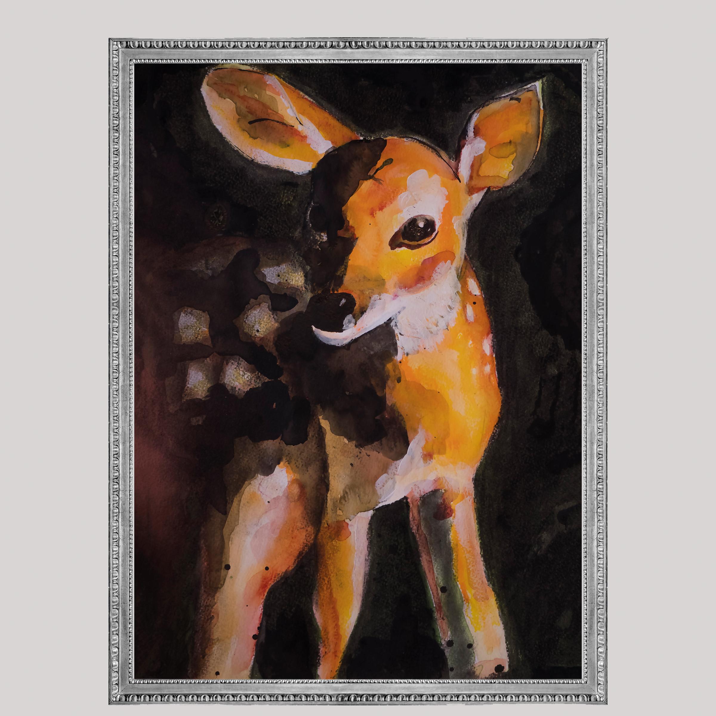 Deer forest animal, Natuurlijk Angelart, Angela Peters. Illustraties inkt Aquarel