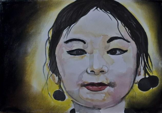 Portretten, portret schilderijen Angela Peters Asiata
