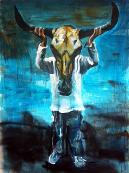 Portretten, portret schilderijen Angela Peters stieren masker
