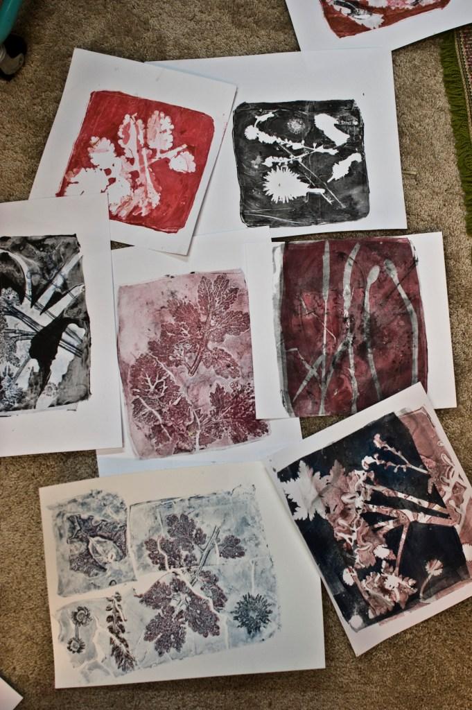 gelatine print workshop monoprint