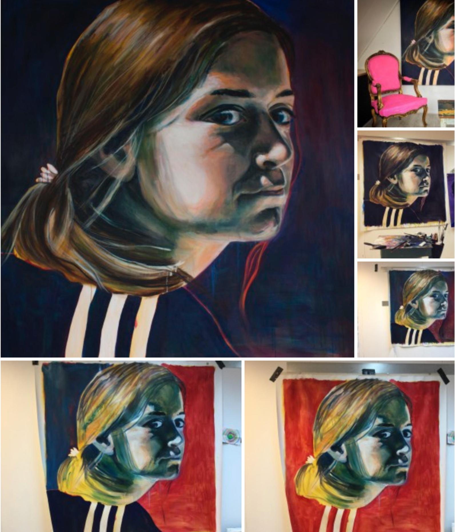 Portret schilderij van Angela Peters bij Angelart Kunst&Zo