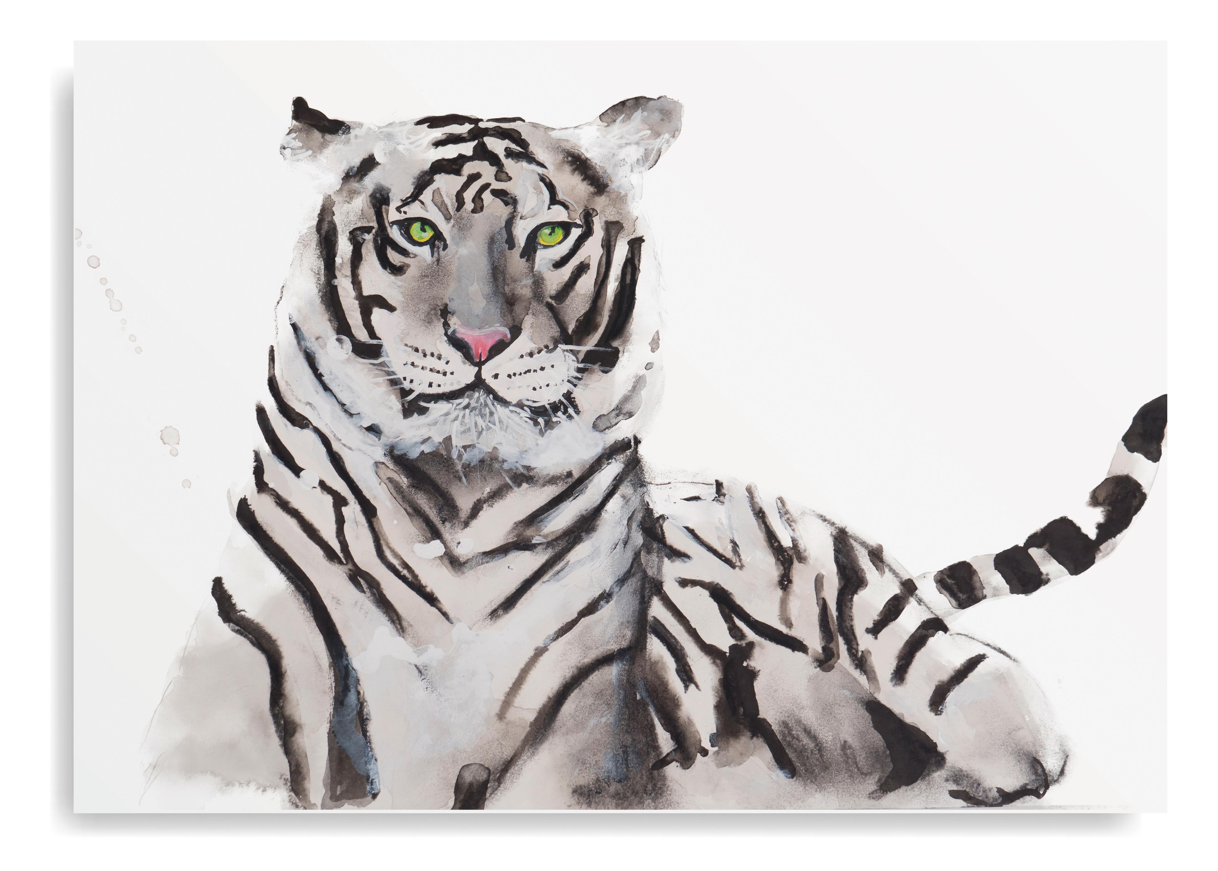 Angela Peters illustratie, dieren kaarten Angelart Kunst&zo kunst witte tijger