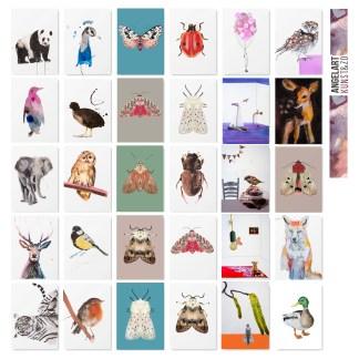 Dieren Wenskaarten set kunstkaarten Angela Peters angelart kunst en zo, natuurlijk Angelart, galerie Hattem, artcards