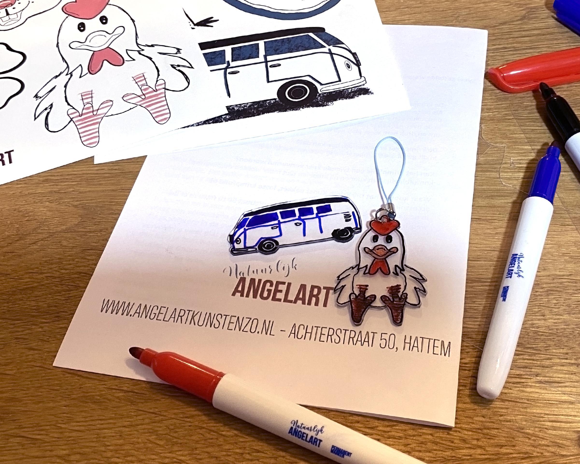 krimpie dinkie krimp kunst, workshop in een doosje, natuurlijk Angelart