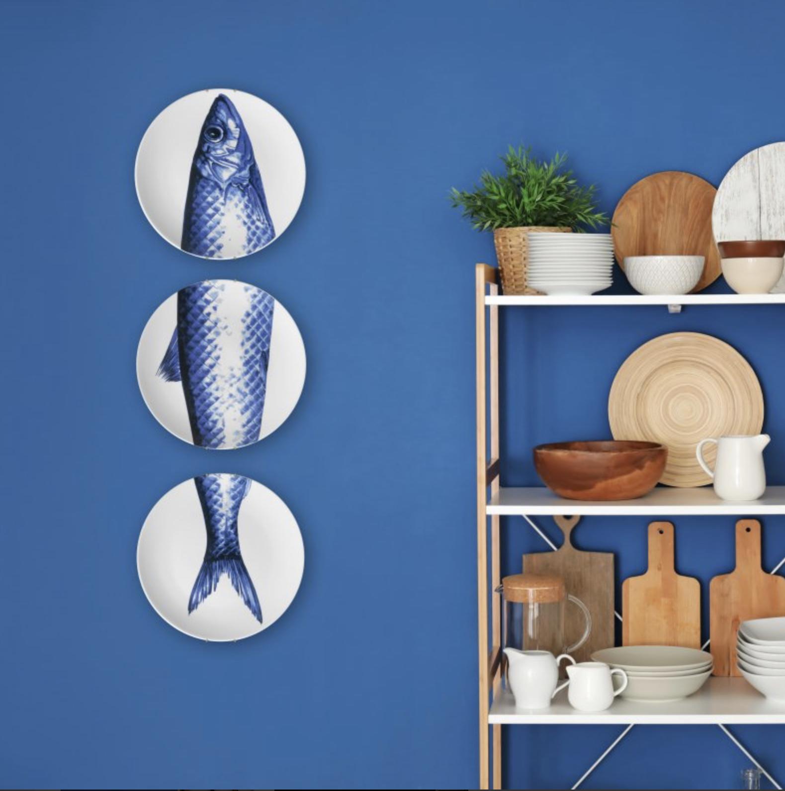 Heinen Delfts Blauw wand borden bij Angelart Kunst en Zo Hattem