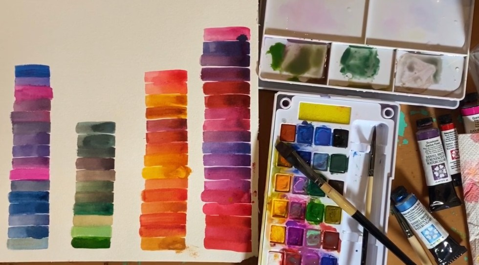 aquarelverf natuurlijk angelart aquarelverf oefeningen Angela Peters kleuren