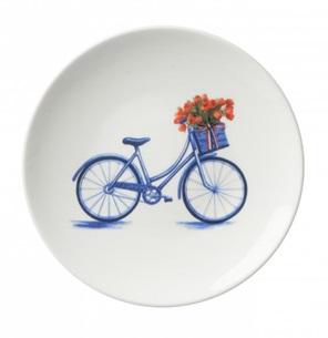 Klein bord van een fiets met een mand vol tulpen. Angela Peters