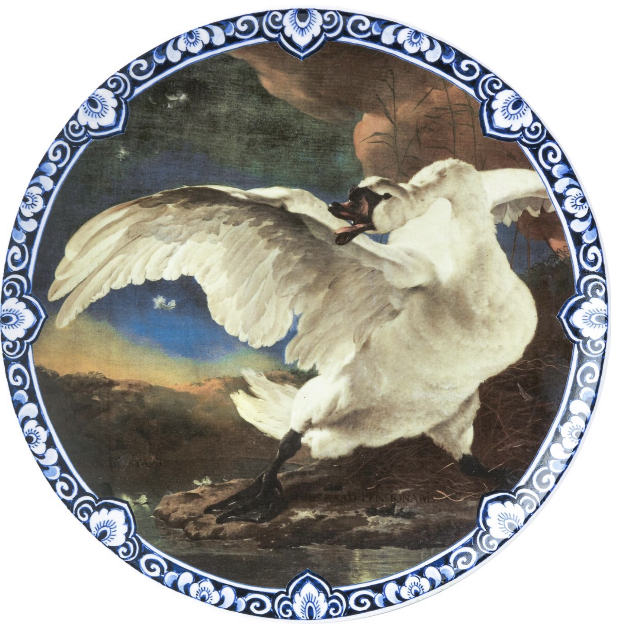 Wandbord bedreigde zwaan Heinen Delfts Blauw wand borden bij Angelart Kunst en Zo Hattem
