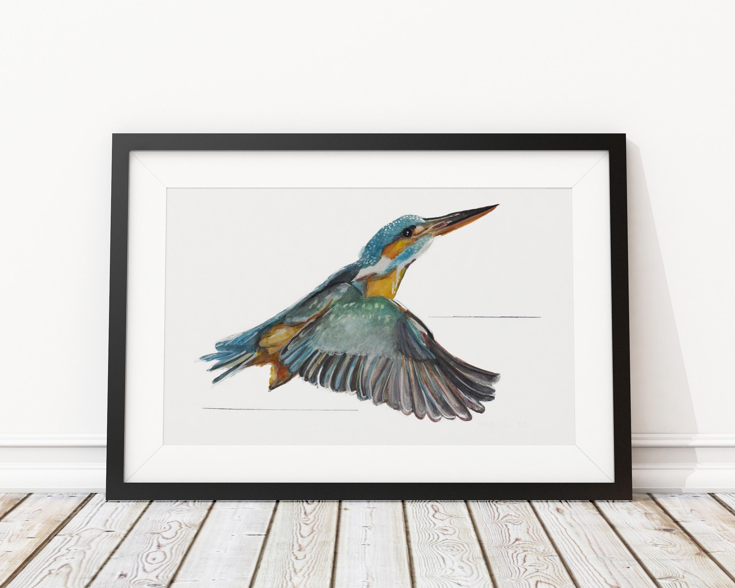 Ijsvogel Angela Peters illustratie, vogel kaarten Angelart Kunst&zo vogel poster