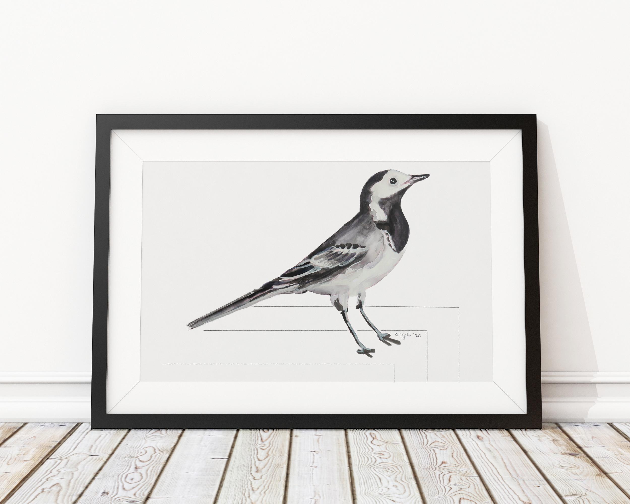 Kwikstaart Angela Peters illustratie, vogel kaarten Angelart Kunst&zo vogel poster