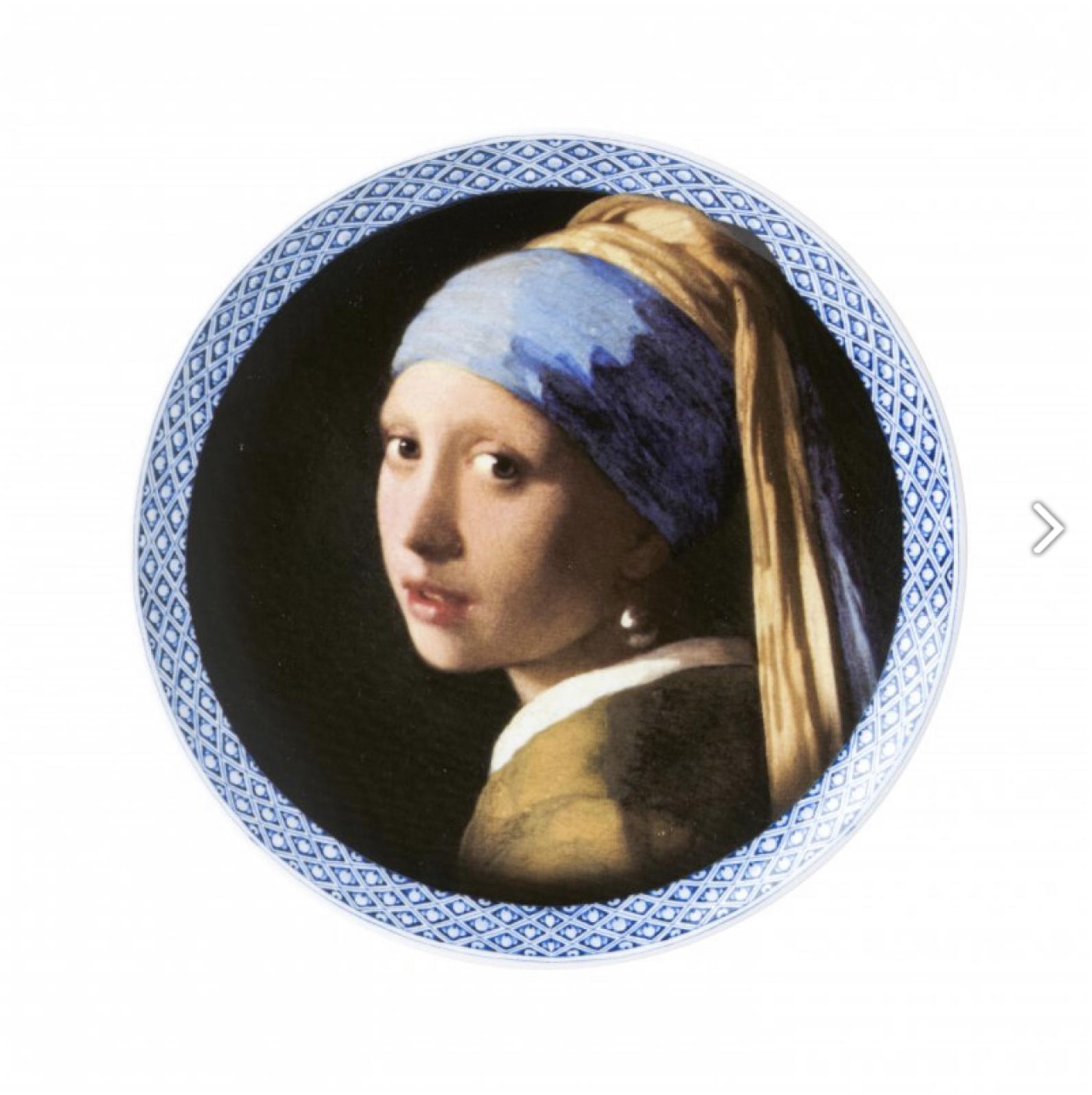 Bord Meisje met de Parel modern Heinen Delftsblauw