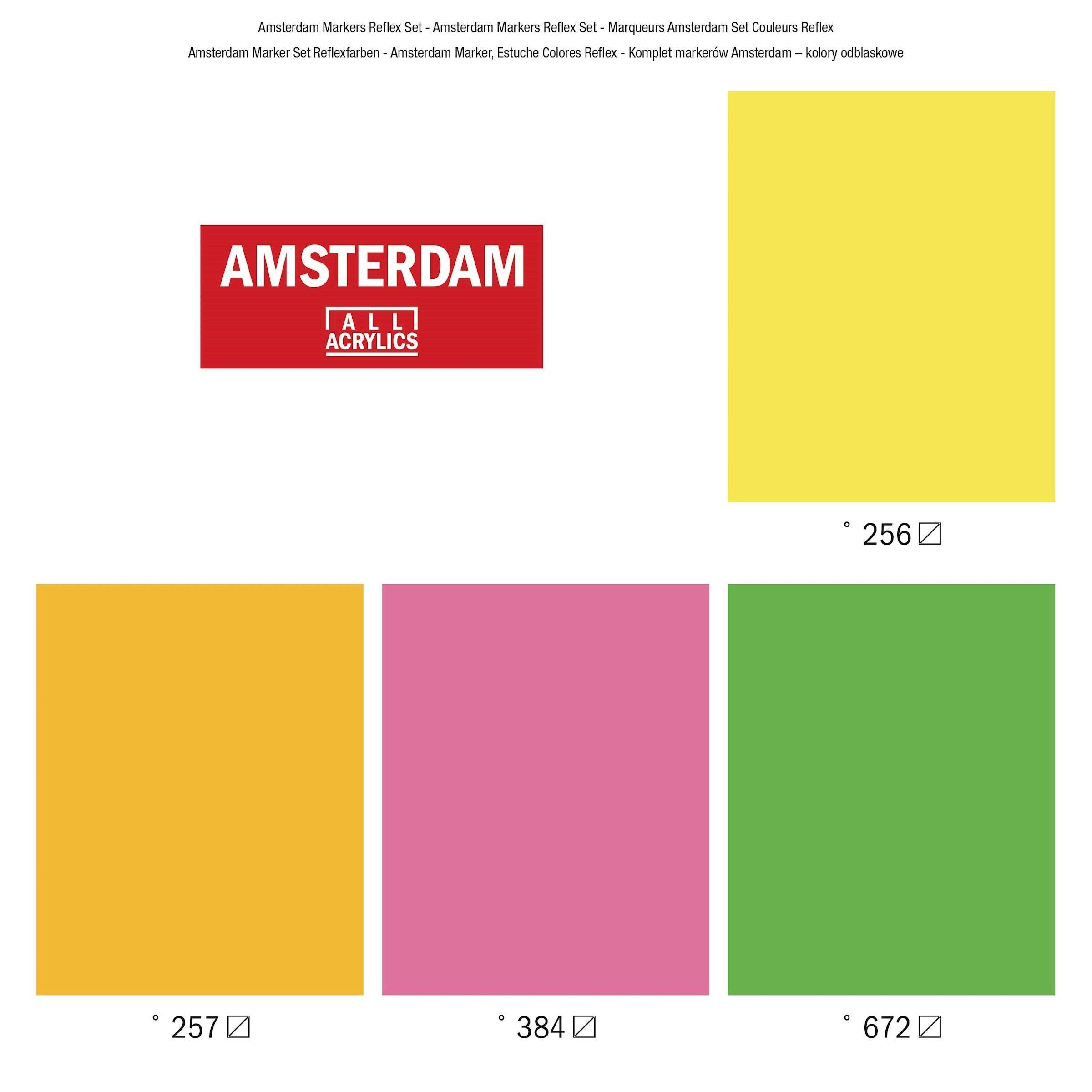 Acryl marker reflex kleuren 4 x 4 mm Amsterdam Talens