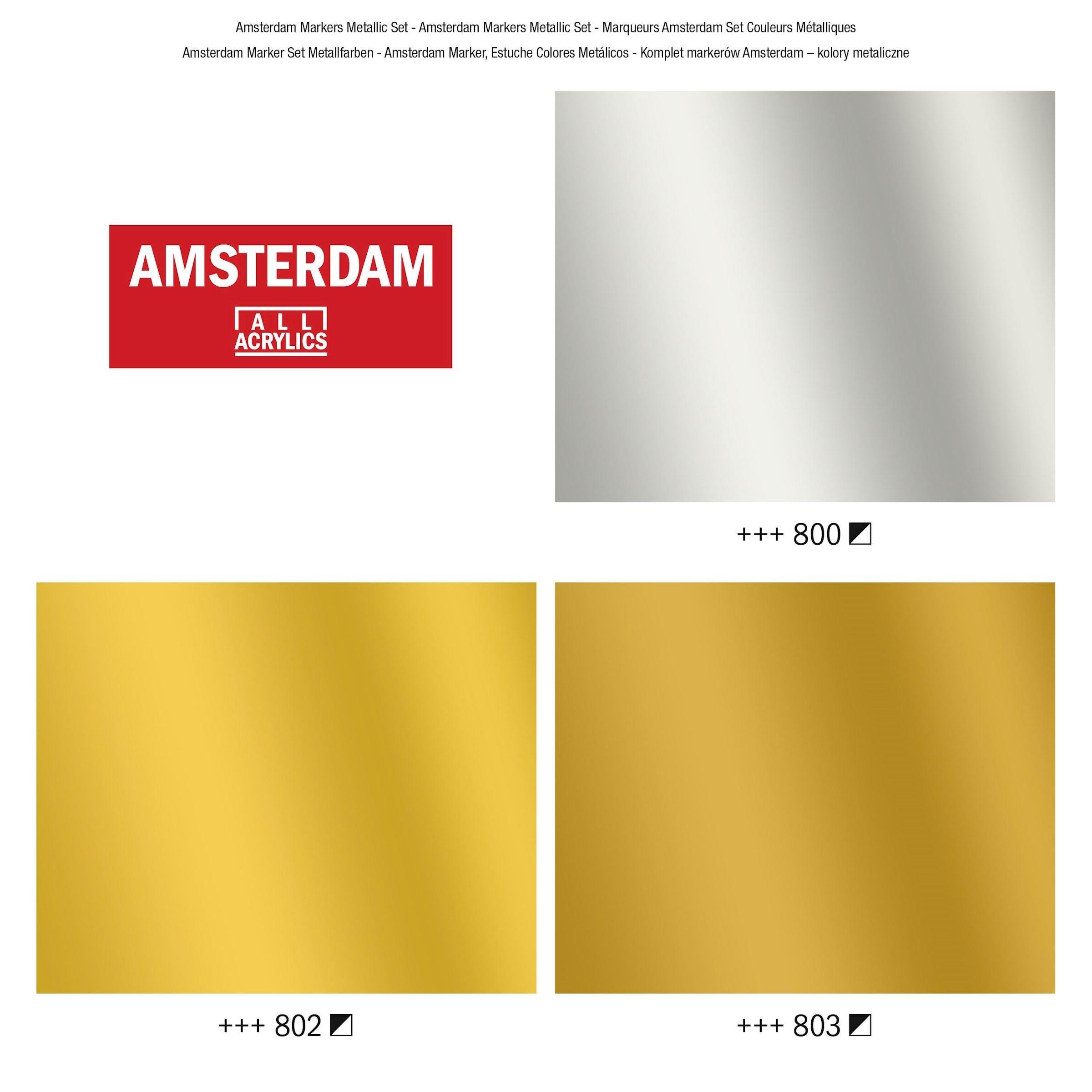 Acryl marker set metaal kleuren 3 x 4 mm zilver, lichtgoud en donkergoud)