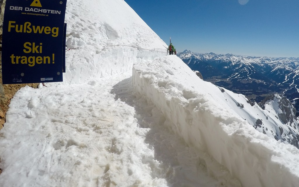 using a via ferrata in austria to get to a ski route