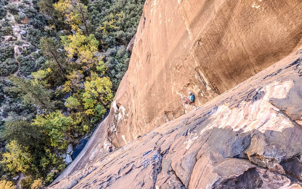 Trad climbers on Dark Shadows in Red Rocks, Nevada.