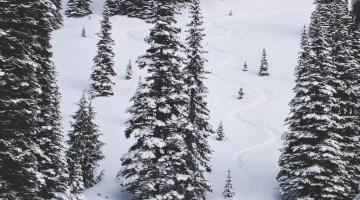 Crystal Mountain backcountry skiing turns
