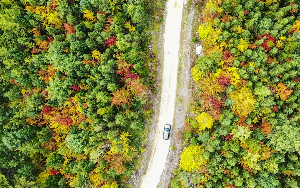Rental Jeep driving on a dirt road in New England fall foliage