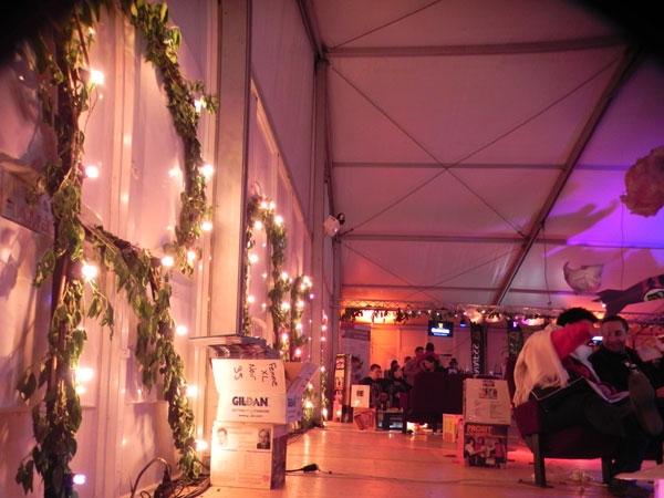 Ambiance lumineuse de l'espace VIP du festival RDTSE, Evreux, 2012. Thème: spatial et nature, fusées, nuages, feuillage.