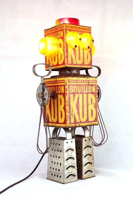 ROKUB. Lampe Robot bouillon KUB. Assemblage, sculpture.