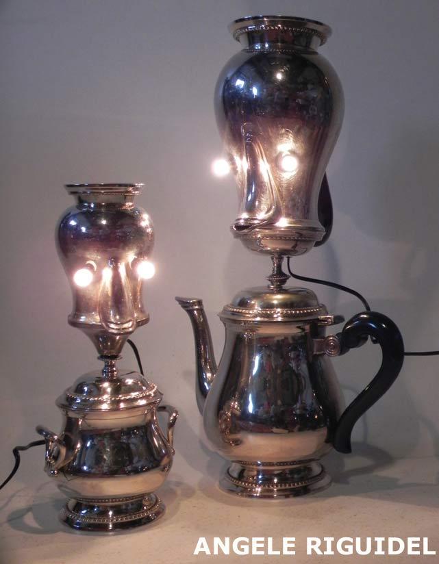 personnages créés avec un service en argenterie. Lampes